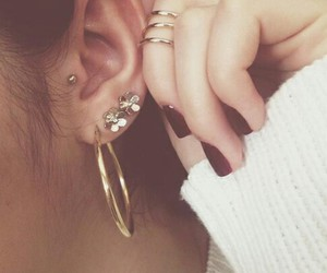 beauty, earings, and piercing image