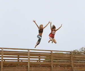 friends, jump, and friendship image