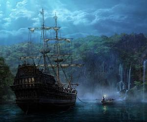 night sky, pirate ship, and pirates image