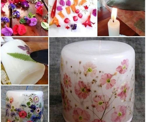 diy, candle, and flowers image