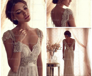 long prom dress, cheap wedding dress, and lace prom dress image
