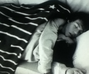 black and white, sleeping, and couple image