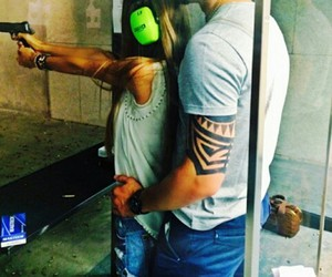 love, couple, and gun image