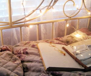 bed, light, and book image