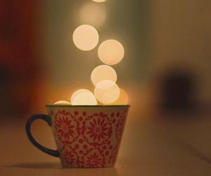 light, cup, and coffee image