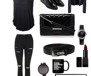 belt, black, and coffee cup image