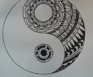 drawing and ying-yang image