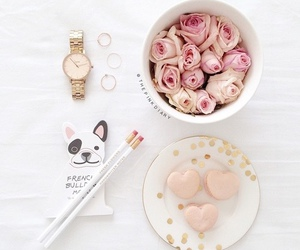 flowers, macaroons, and roses image