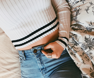 fashion, jeans, and bed image