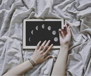 moon, book, and grunge image