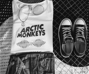 arctic monkeys, black and white, and black converse image