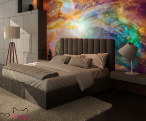 bedroom, galaxy, and mural image