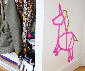 origami, tape, and unicorn image