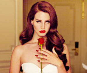 chanteuse, lana del rey, and red rose image