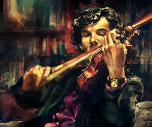 sherlock, violin, and sherlock holmes image