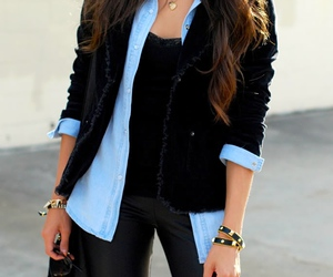 outfit, black, and denim image