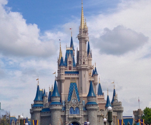 castle, clouds, and disney image