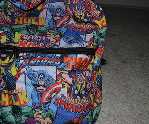 backpack, captain america, and comic image