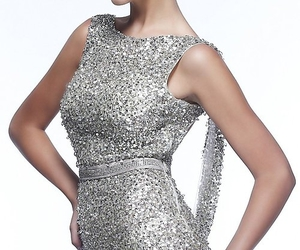 black prom dresses, embellishment sequins, and waist natural image