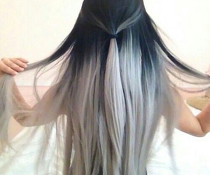 black hair, ombre, and silver hair image