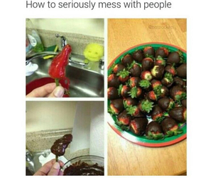 funny, prank, and strawberry image
