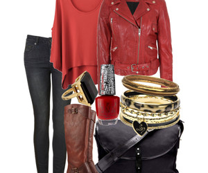 boots, outfit, and leather jacket image