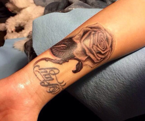 demi lovato, tattoo, and rose image