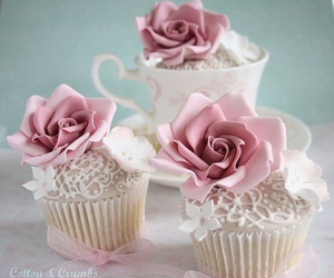 cupcake, rose, and sweet image