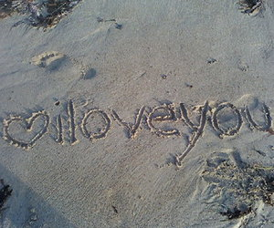 love, I Love You, and sand image