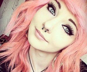 piercing, pink hair, and hair image