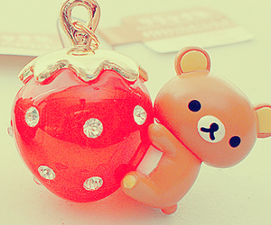 cute, strawberry, and bear image