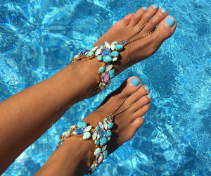 summer, blue, and nails image