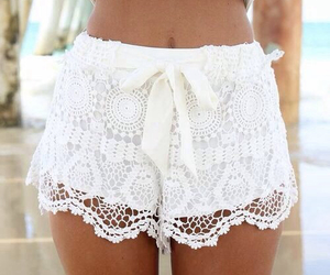 beach, lace, and shorts image