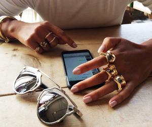 fashion, rings, and sunglasses image