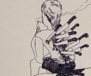 sad and knife+ image