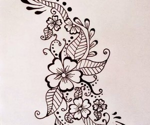 pattern, drawing, and flowers image