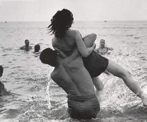 b&w, beach, and playful image