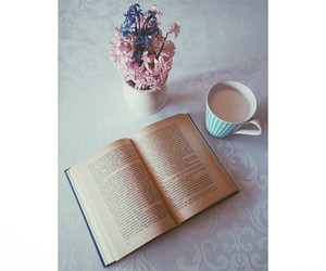 book, bookworm, and flowers image