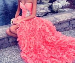 bling, coral, and dress image