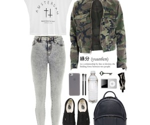 outfit, high waisted jeans, and camo jacket image
