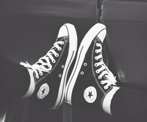 black, blackandwhite, and converse image