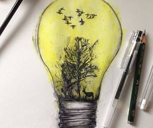 art, birds, and lightbulb image