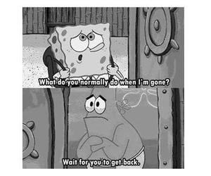 patrick, spongebob, and sad image