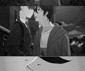 kawaii, black&white, and kiss image