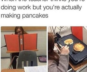 funny, pancakes, and school image