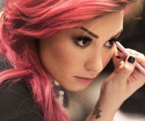 demi lovato, edit, and pink image