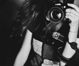 camera, girl, and black and white image