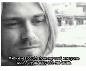 eyes, kurt cobain, and sad image