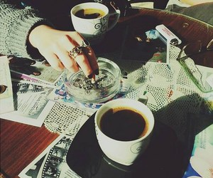 coffee, cigarettes, and girl image