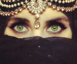 eyes, hijab, and green image